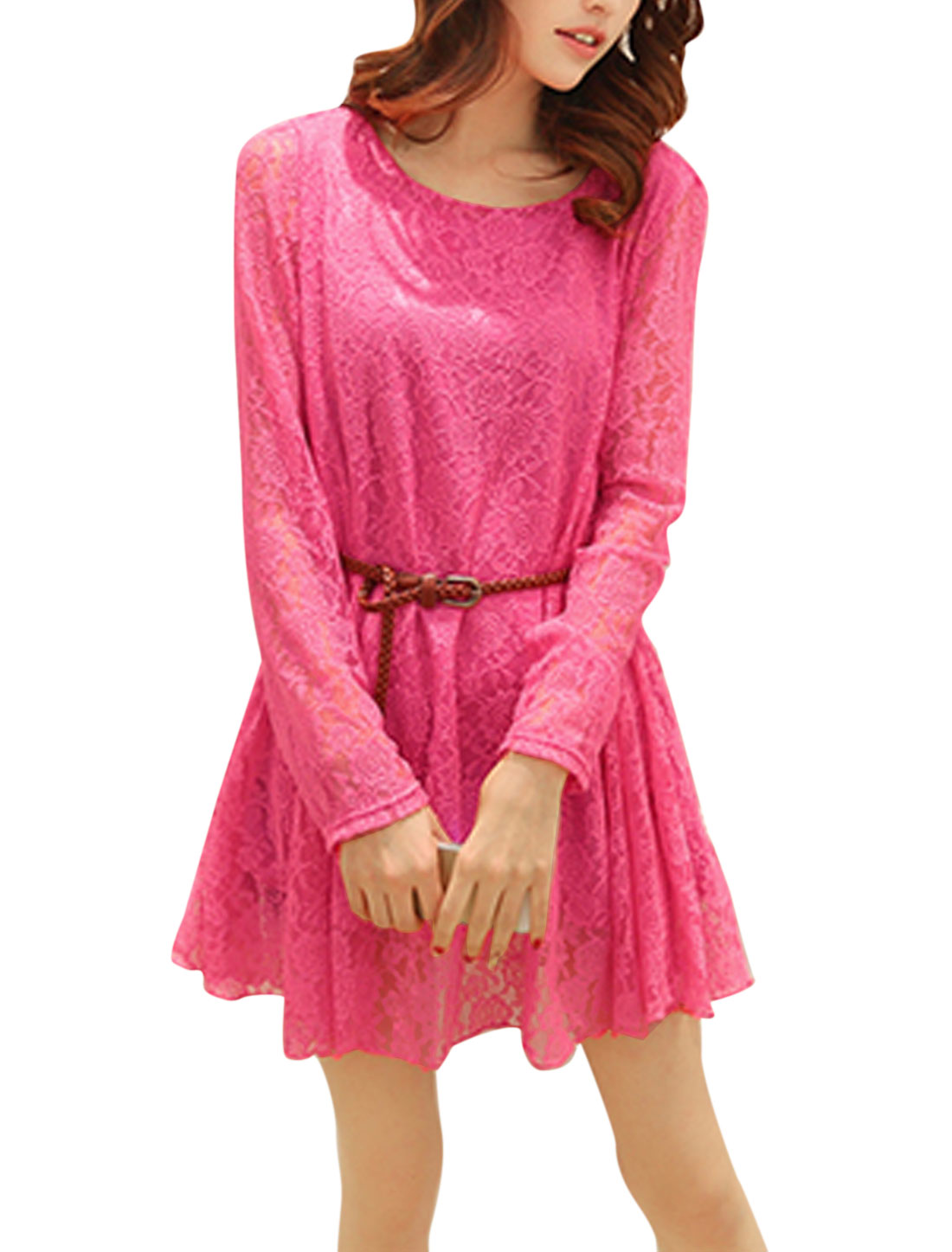 Lady Round Neck Long Sleeve Lace Lining Dress w Belt Fuchsia S