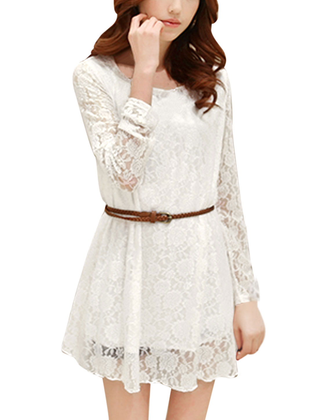 Lady Round Neck Long Sleeve Lace Lining Dress w Belt White S