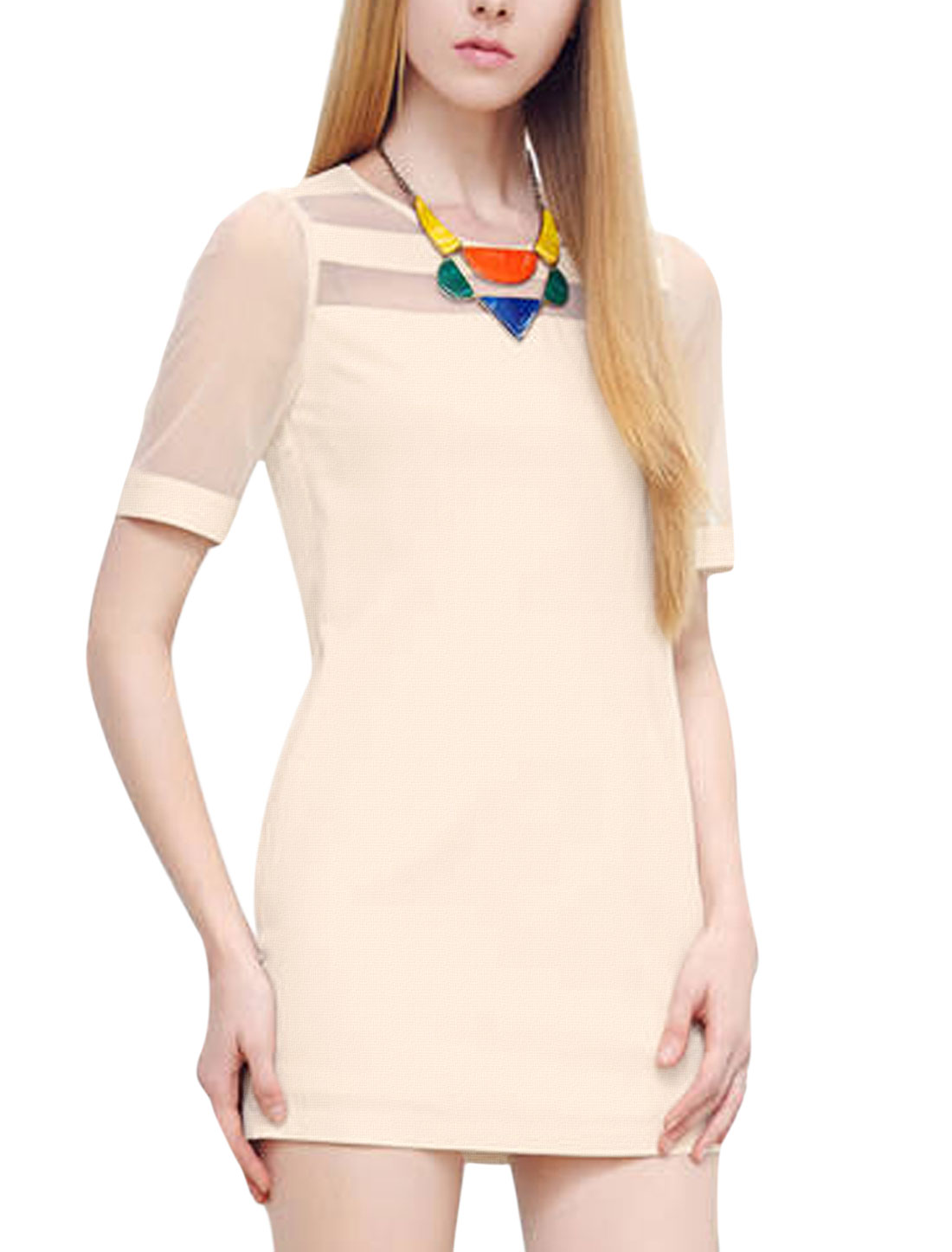 Lady Round Neck Organza Sleeve Zipped Side Shift Dress Beige M
