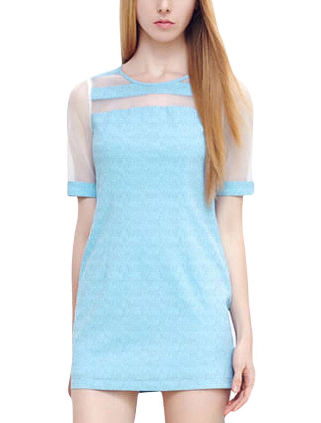 Lady Semi-Sheer Sleeve Concealed Zipper Side Shift Dress Sky Blue M
