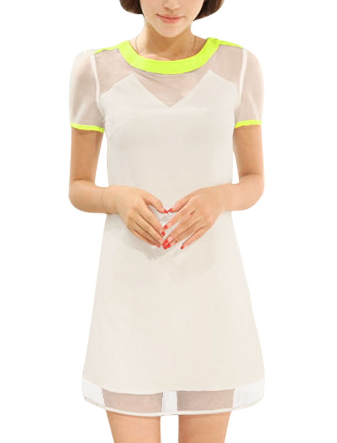 Lady Round Neck Short Sleeve Zipper Back Organza Splicing Shift Dress White S