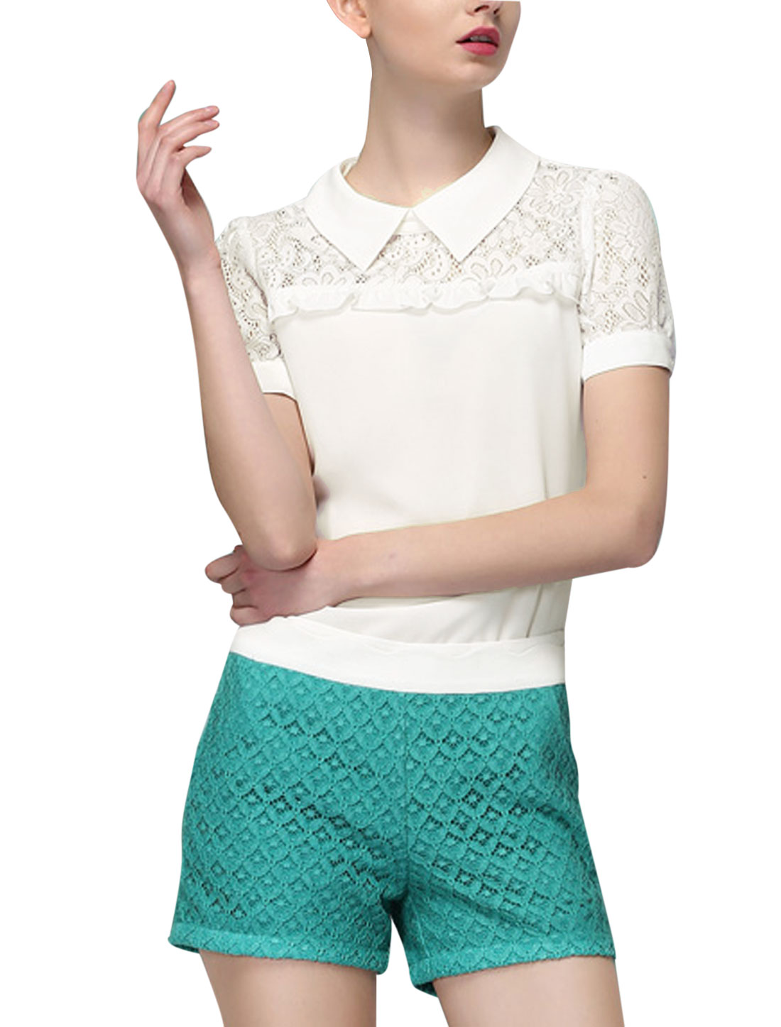 Lady Turndown Collar Short Sleeve Crochet Panel Blouse White S