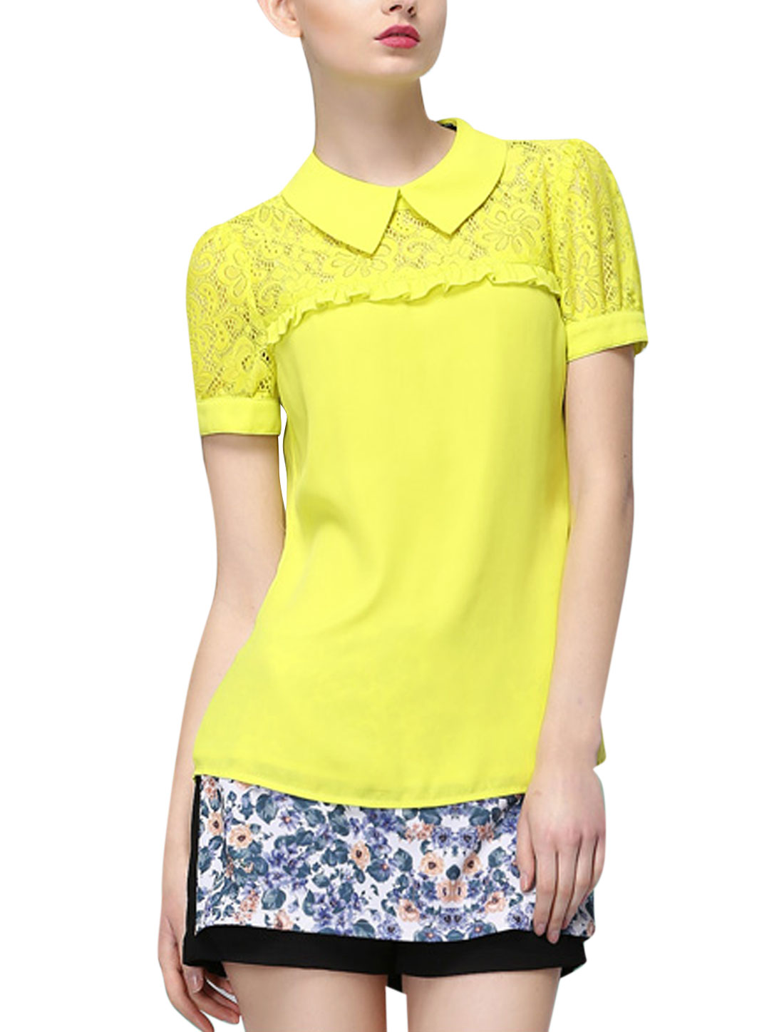 Lady Turndown Collar Crochet Panel Blouse Lime Yellow S