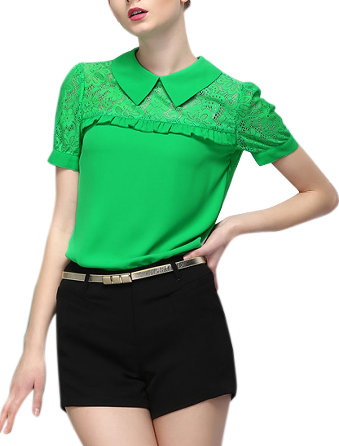 Lady Turndown Collar Ruffle Detail Crochet Patchwork Blouse Green S