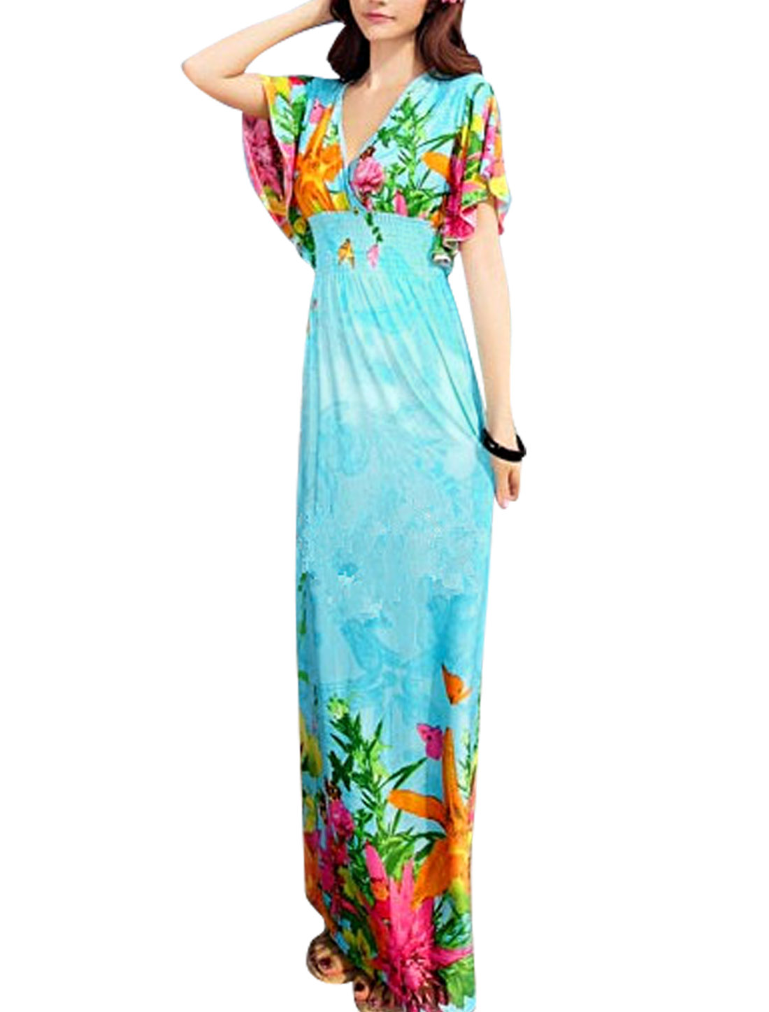 Lady Cross Deep V Neck Floral Prints Maxi Dress Sky Blue S