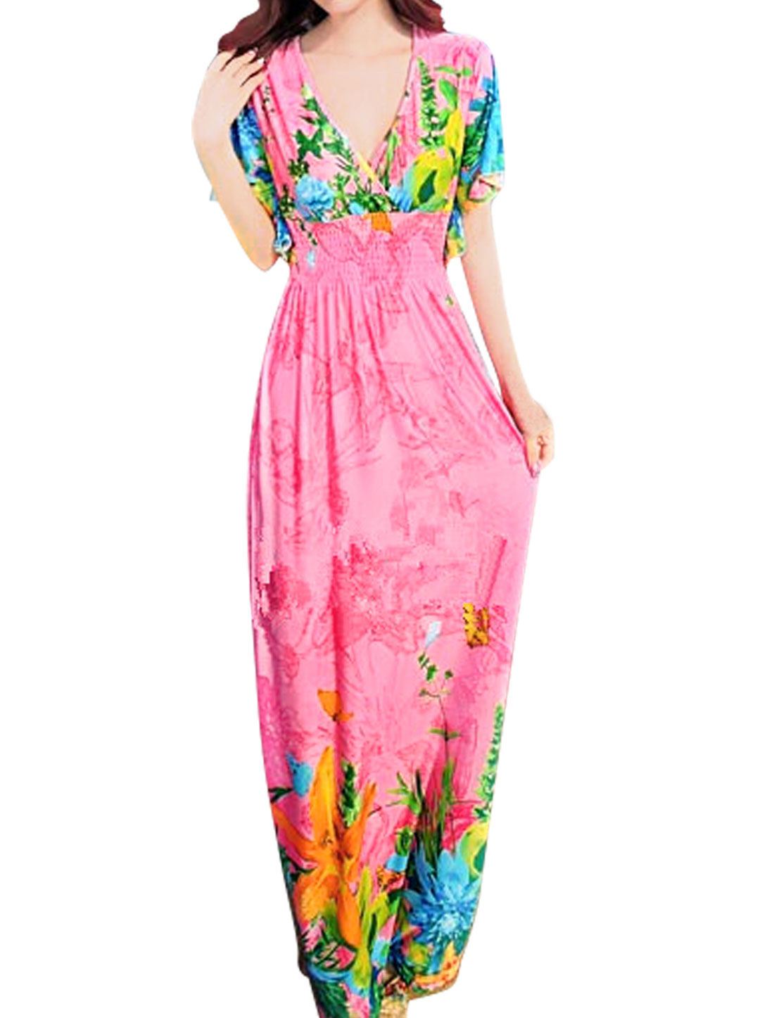 Lady Flouncing Sleeve Floral Prints Maxi Dress Pink S