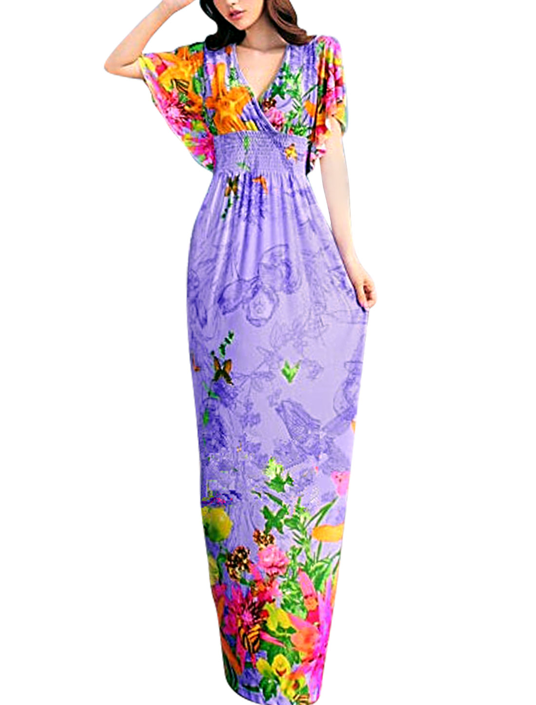 Lady Cross Deep V Neck Flouncing Sleeve Maxi Dress Lavender S