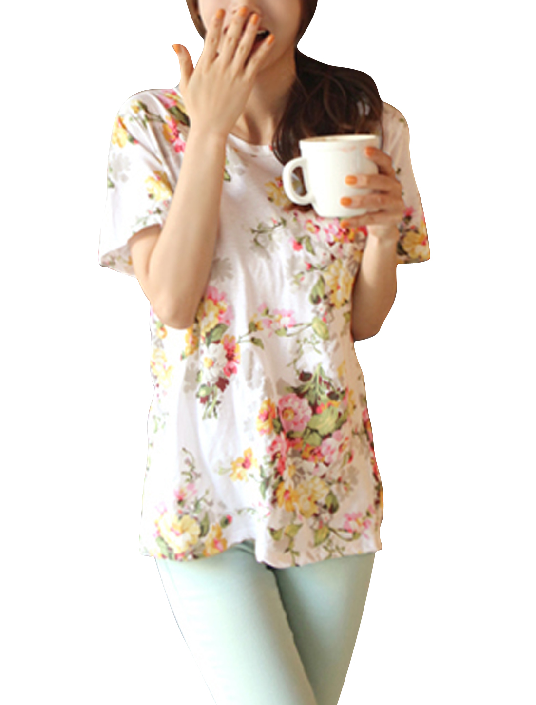 Lady Scoop Neck Short Sleeve Floral Prints Basic Tee Light Pink XS