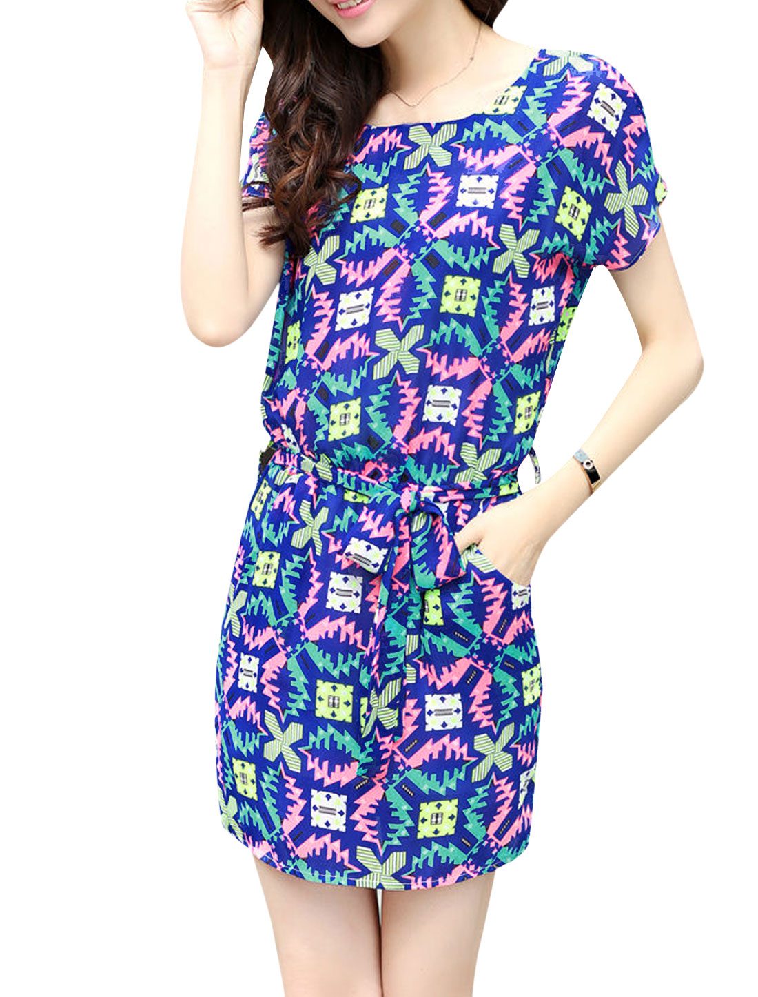 Women Short Batwing Sleeve Geometric Prints Chiffon Dress Royal Blue Green M