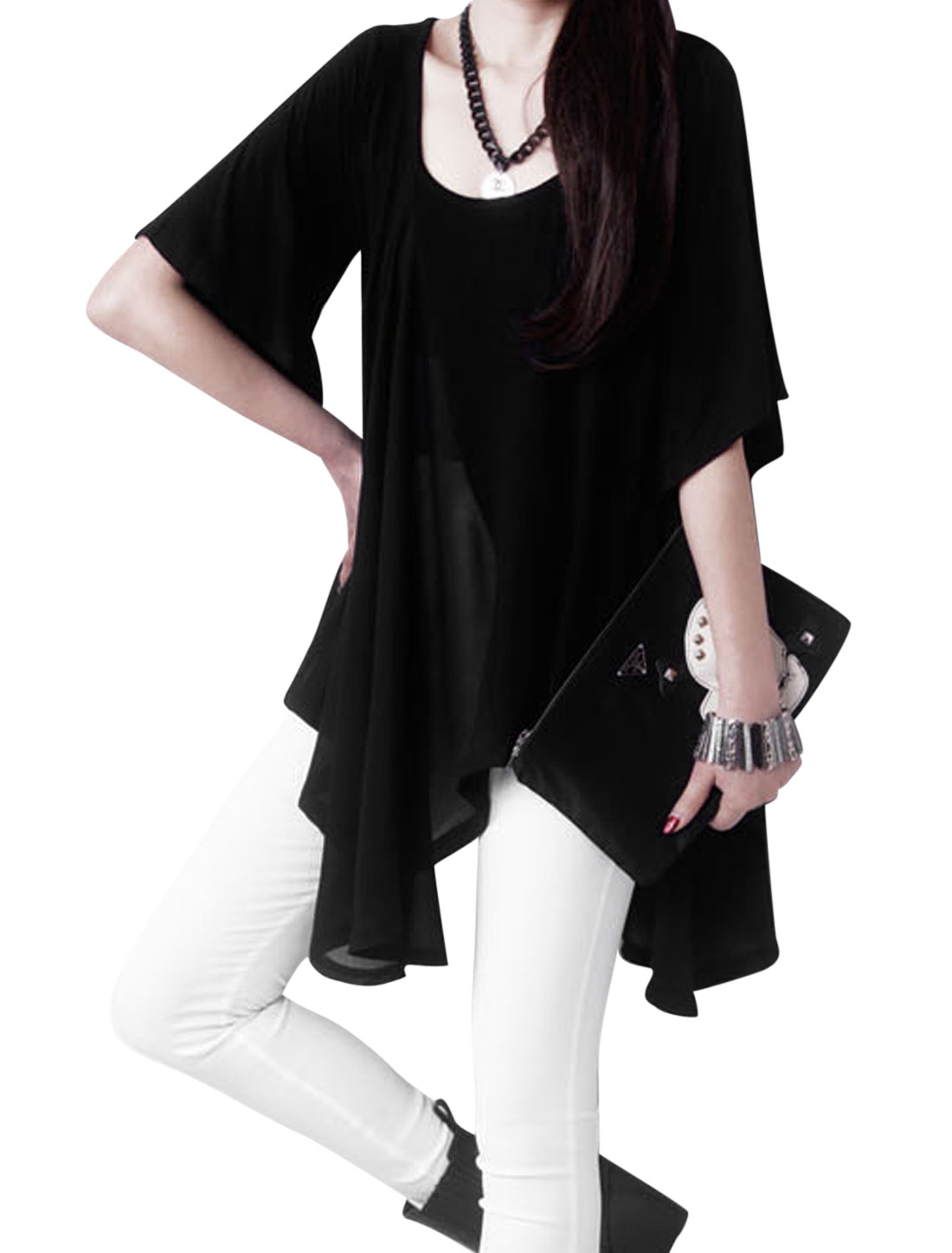 Women 1/2 Lantern Sleeve Irregular Hem Loose Tunic Top Black M