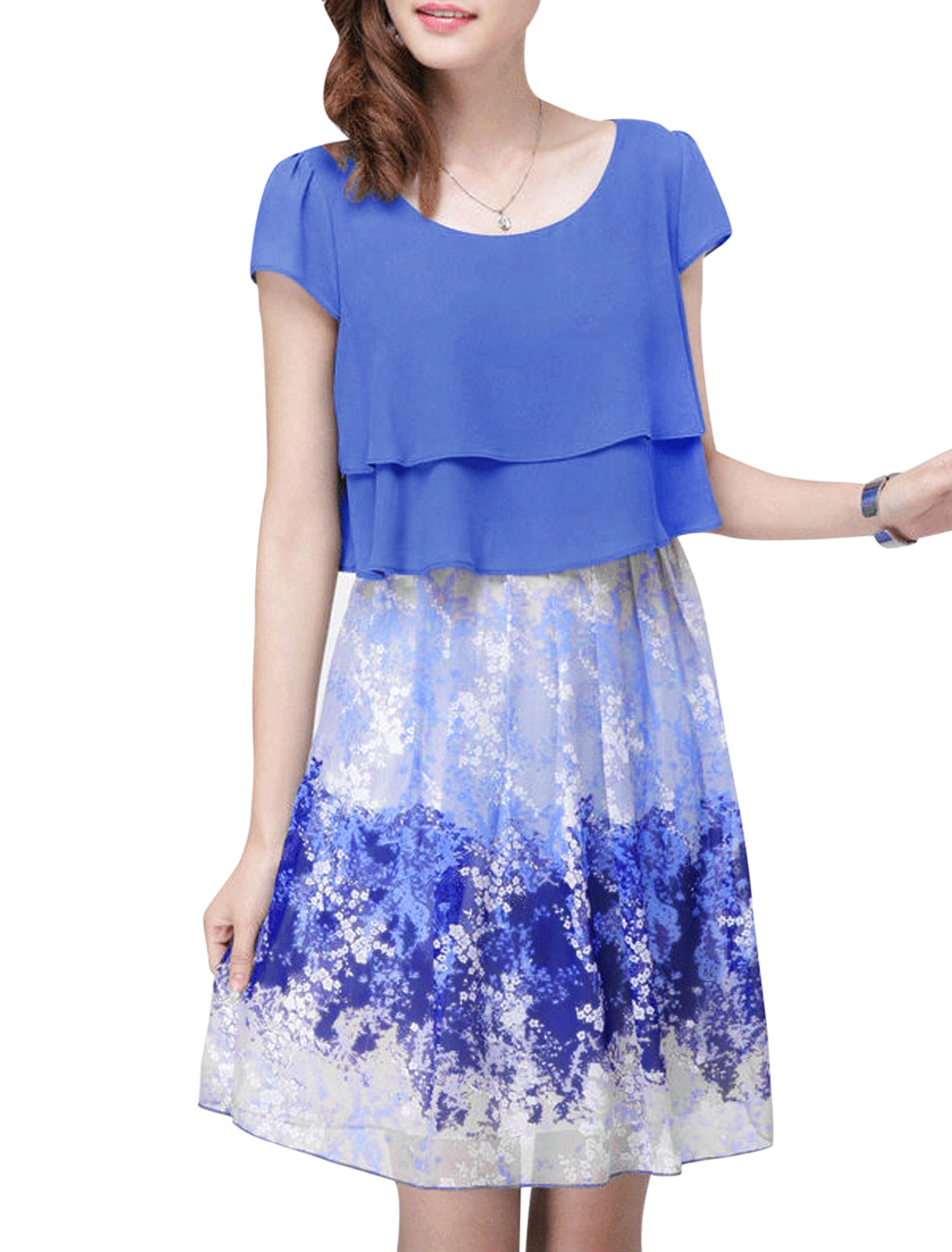 Lady Cap Sleeve Floral Prints Layered Design Dress Dark Blue L
