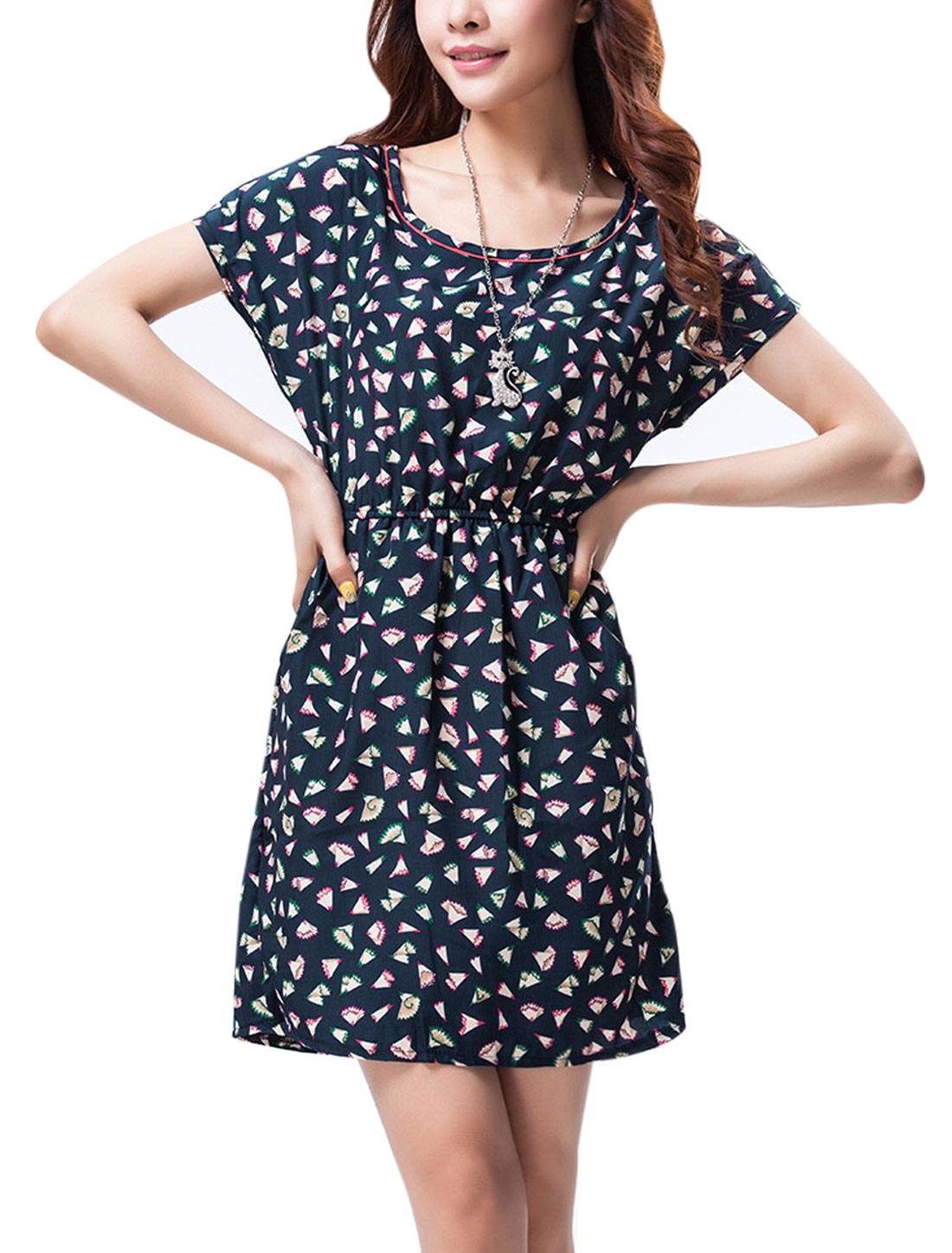 Lady Short Batwing Sleeve Pencil Shavings Prints Dress Navy Blue M