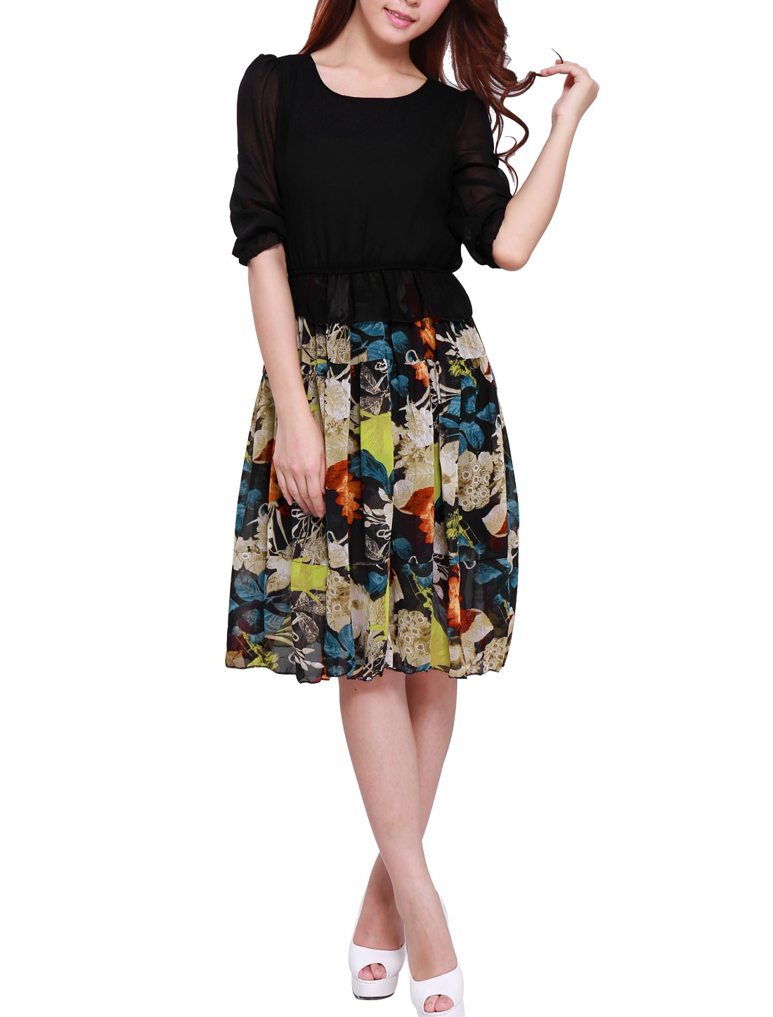 Lady Round Neck 3/4 Sleeve Floral Prints Dress Black M