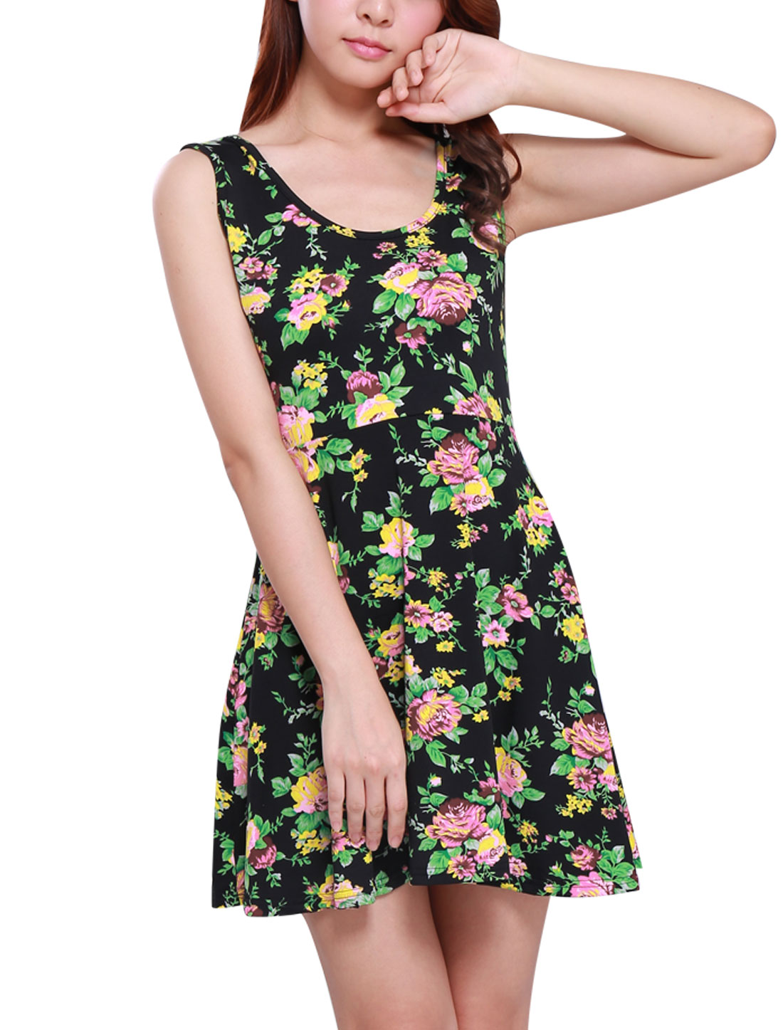 Lady Sleeveless Floral Prints Elastic Skater Dress Black Green M
