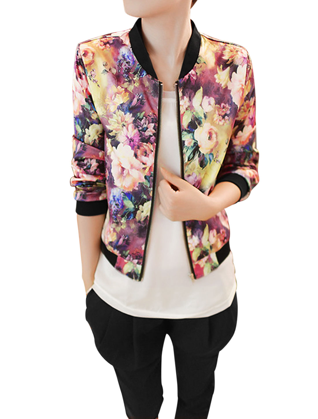 Lady Stand Collar Zip Fly Floral Prints Basic Jacket Multicolor M