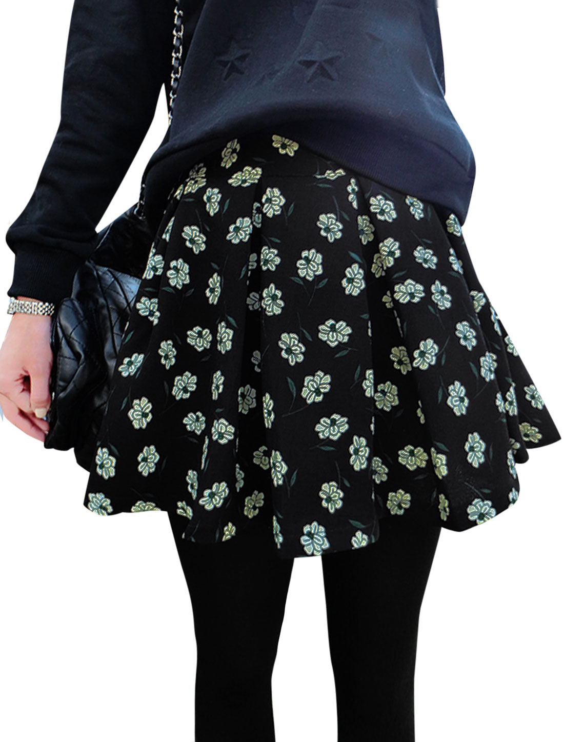 Lady Belt Loop Concealed Zipper Back Floral Prints Skirt Black S