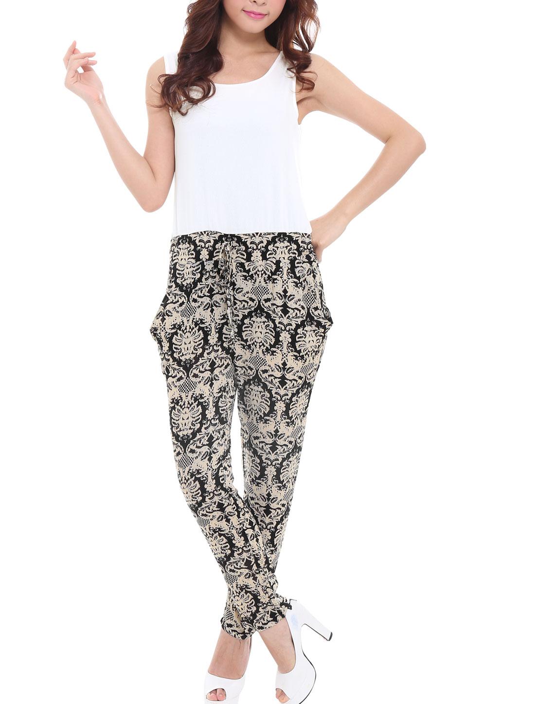 5886 Women Chiffon Splicing Drawstring Waist Fashion Jumpsuit Beige White /XS (US 2)