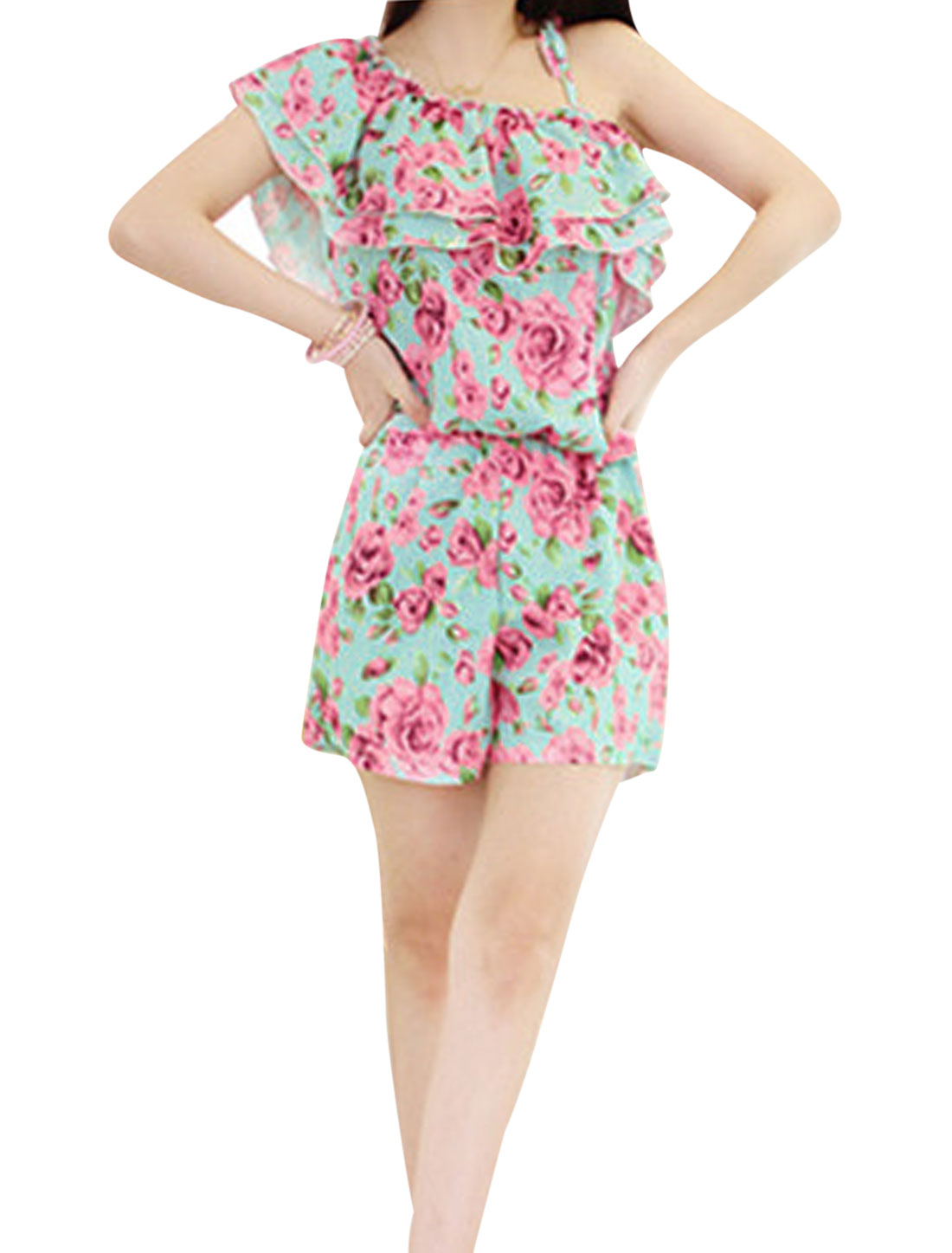 Lady One Shoulder Self-Tie Spaghetti Straps Floral Prints Romper Fuchsia XS