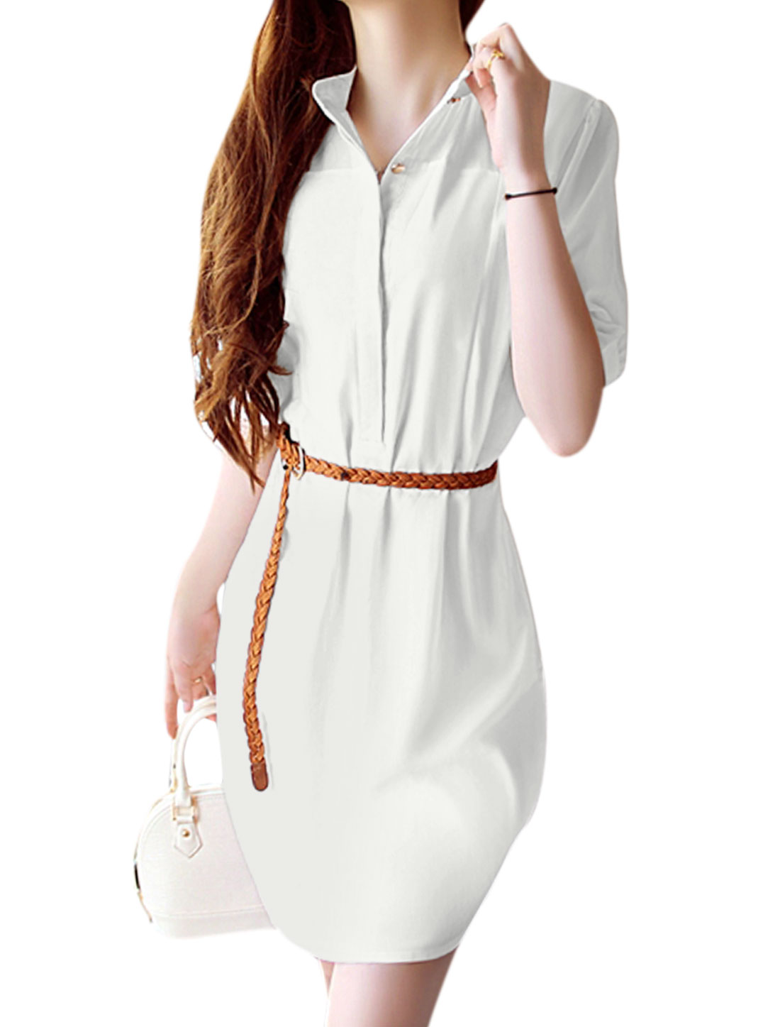 Lady Stand Collar Elbow Sleeve Round Hem Shirt Dress w Belt White M