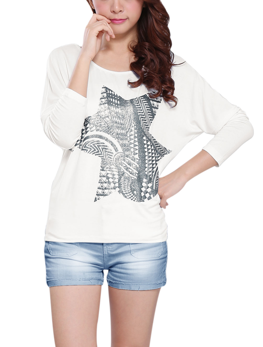 Women Long Batwing Sleeve Geometric Prints Glitter Detail Top White XS