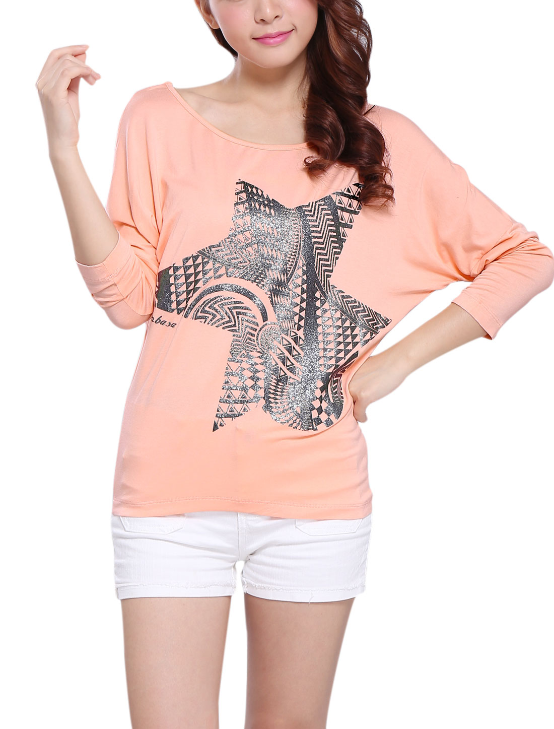 Women Long Batwing Sleeve Geometric Prints Top Shirt Pink XS