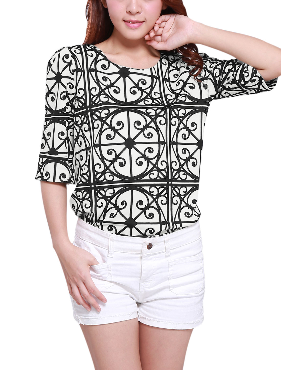 Lady Geometric Pattern Elbow Sleeve Button Loop Closure Blouse Black White M