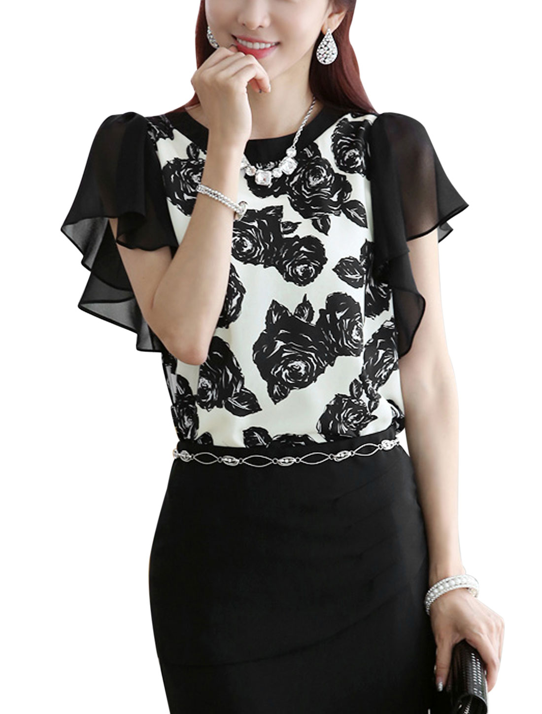 Lady's Butterfly Sleeve Rose Print Button Loop Closure Blouse Black White M