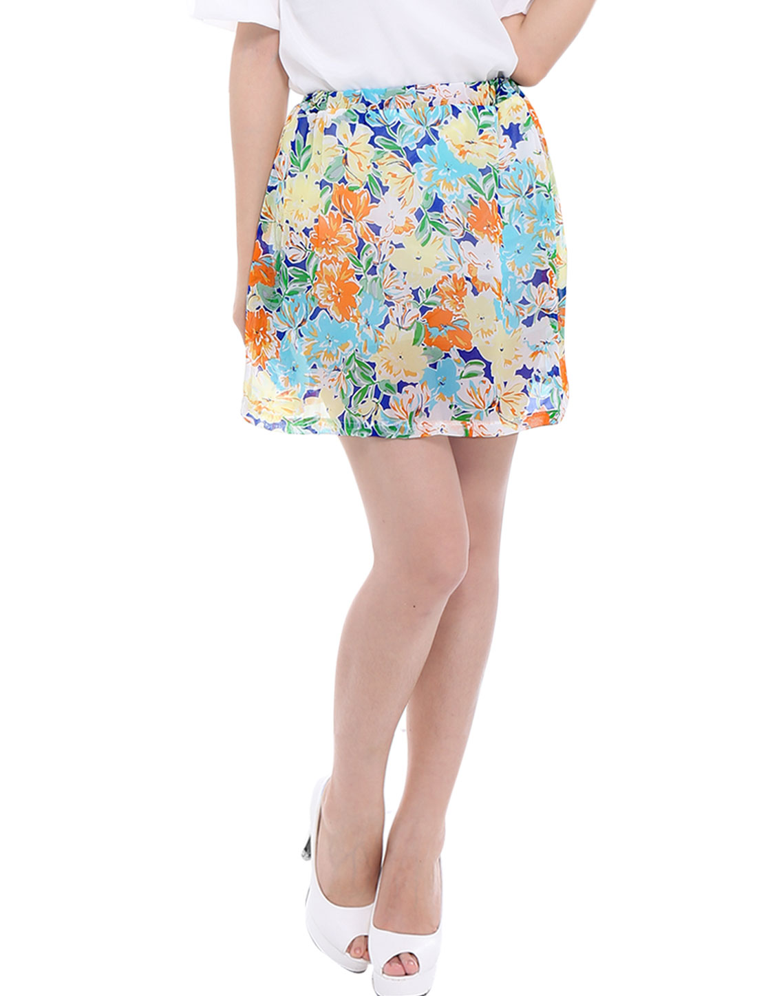 Lady Mid Rise Floral Prints Pleated Detail Lining Skirt Multicolor XS