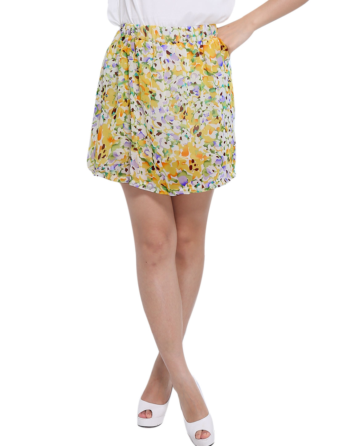 Lady Floral Prints Pleated Detail Lining Skirt White Yellow XS