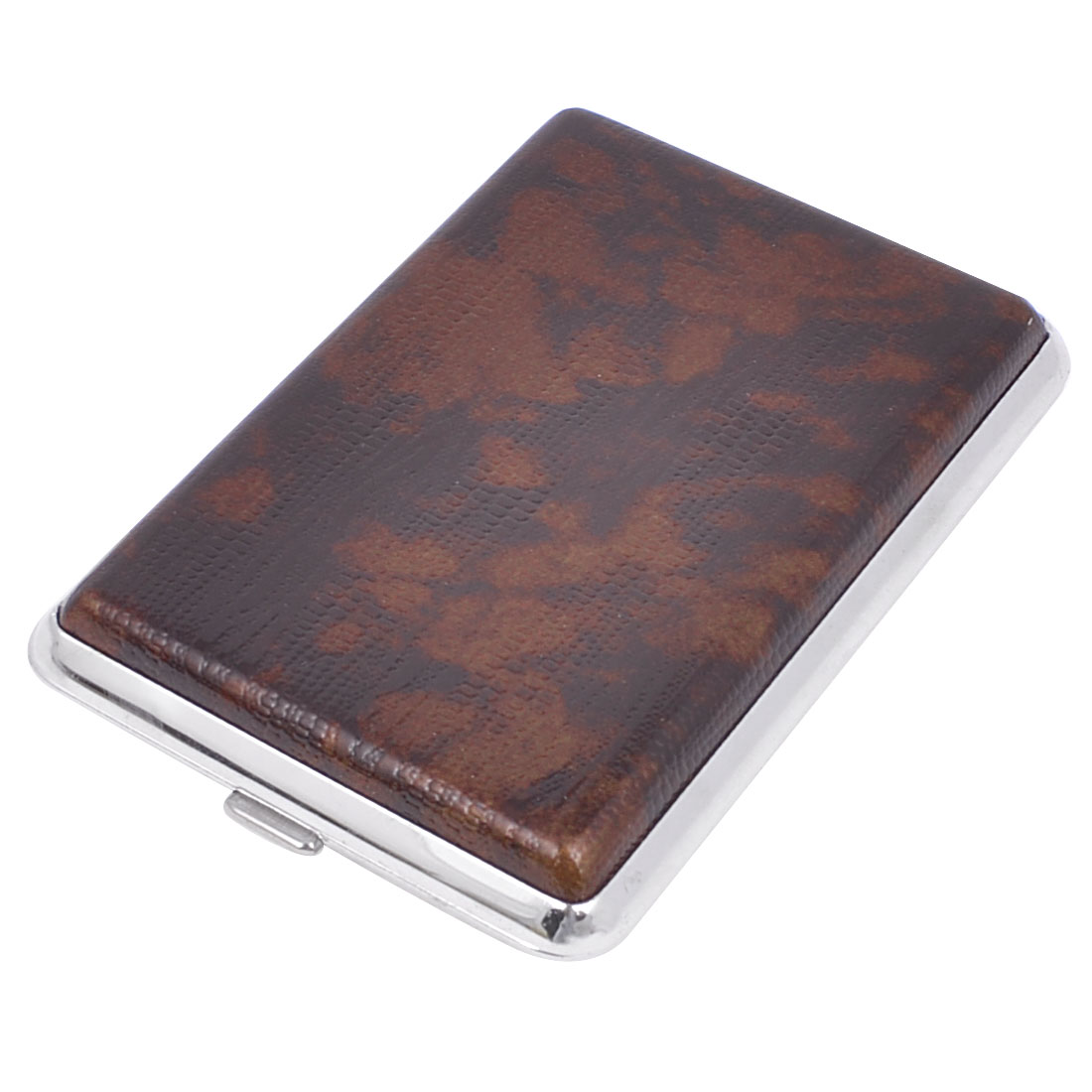 Dark Brown Rectangle Shaped Two Sides Design 14 Capacity Cigarette Box Case