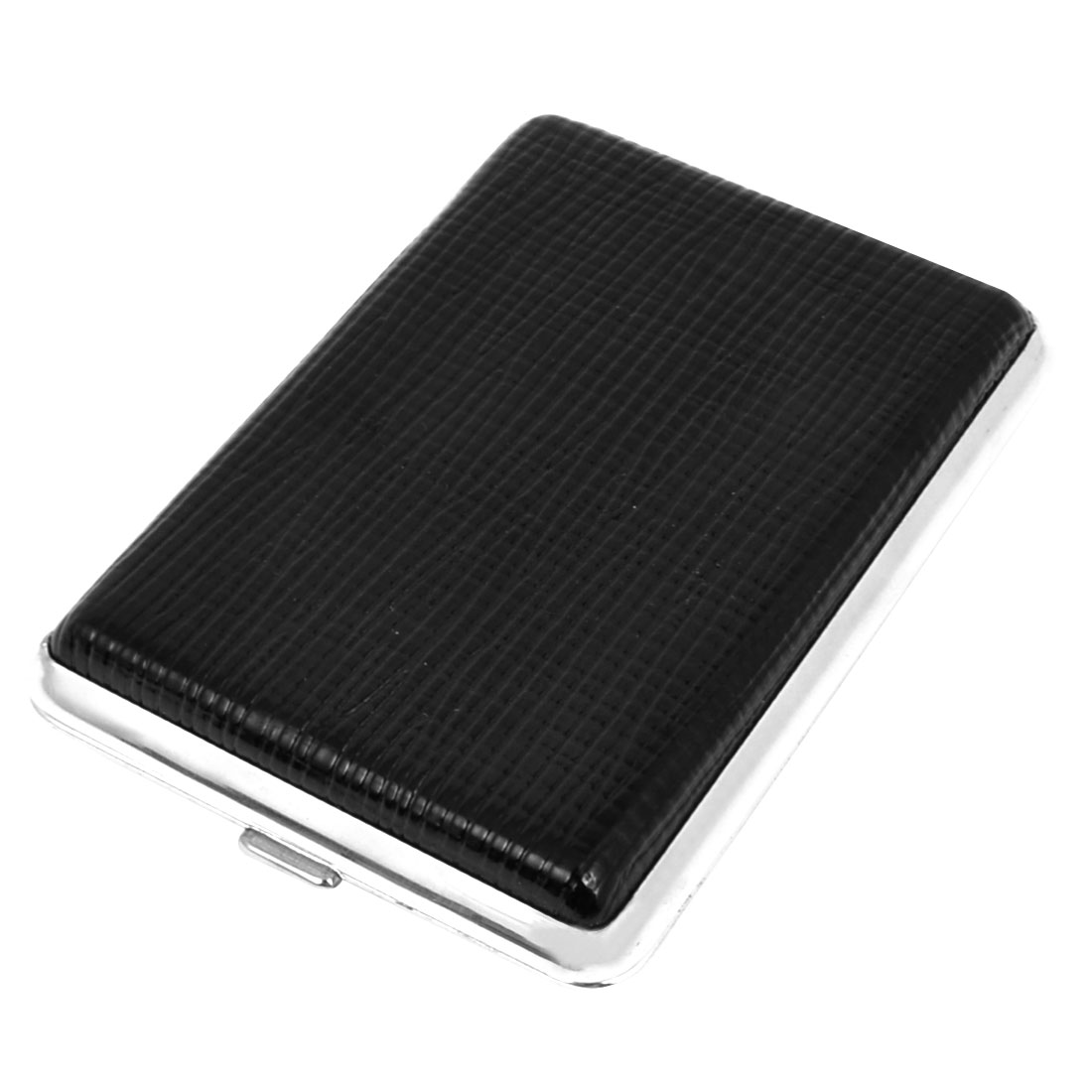 Black Stripe Pattern Faux Leather Coated Rectangle 14 Cigarette Cigar Case Box Holder