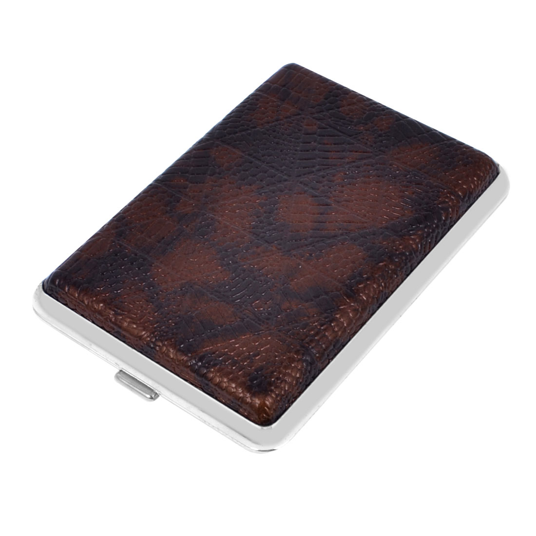 Man Rhombus Pattern Rectangle Faux Leather Coated Two Sides Design 14 Cigarettes Tobacco Metal Case Box Dark Brown