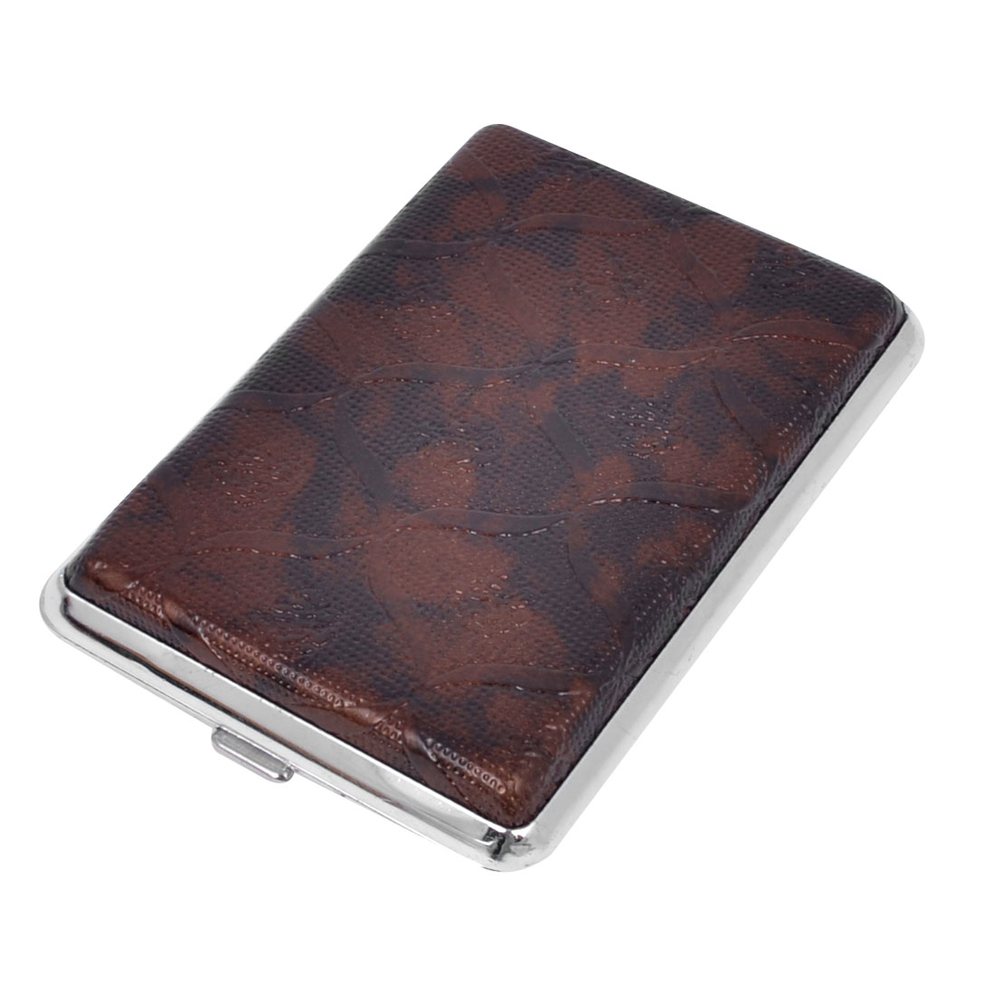 Man Business Plaid Print Rectangle Faux Leather Coated Two Sides Design 14 Cigarette Case Box Brown