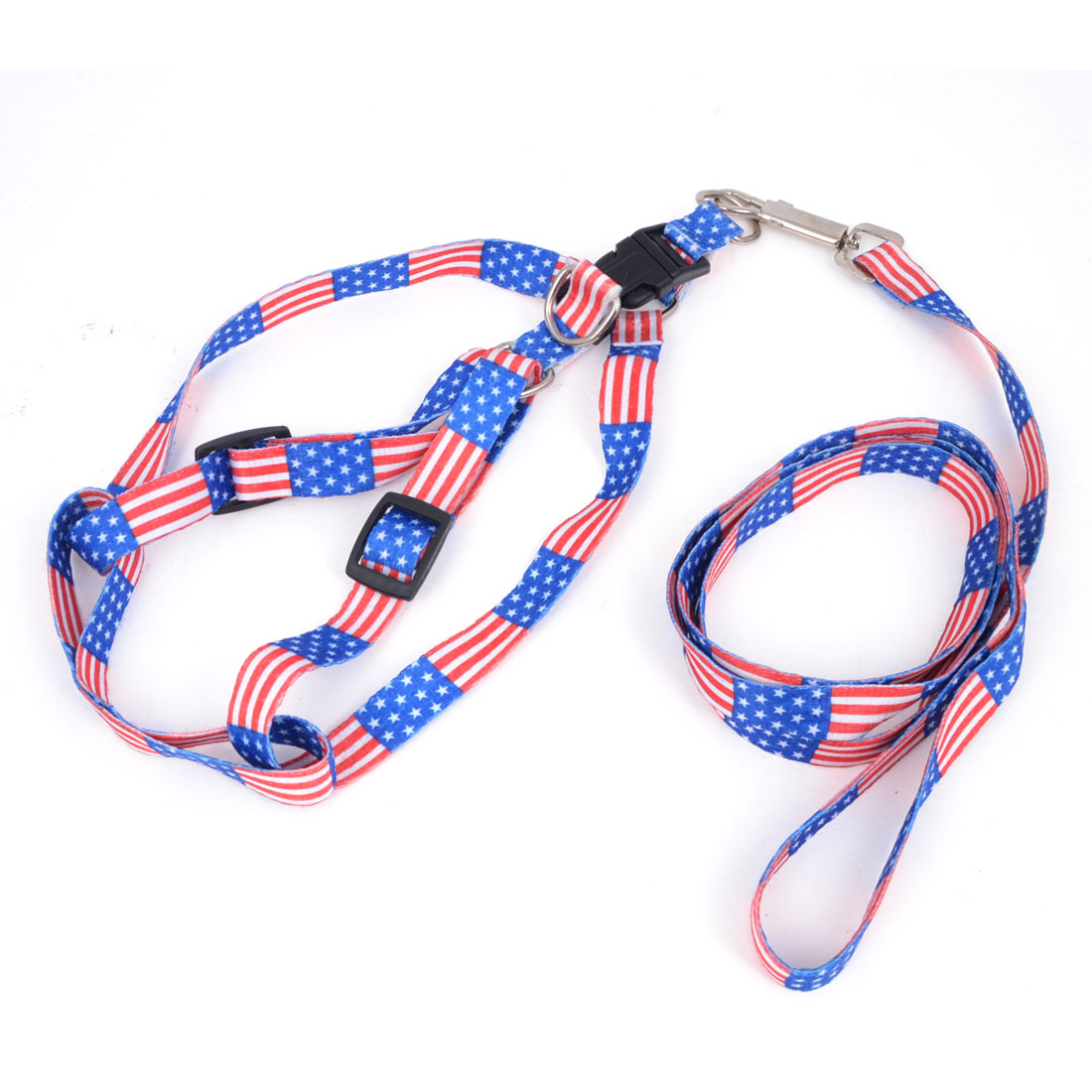Blue Red Star Pentacle Stripe Pattern Doggie Rope Adjustable Dog Harness Halter Leash