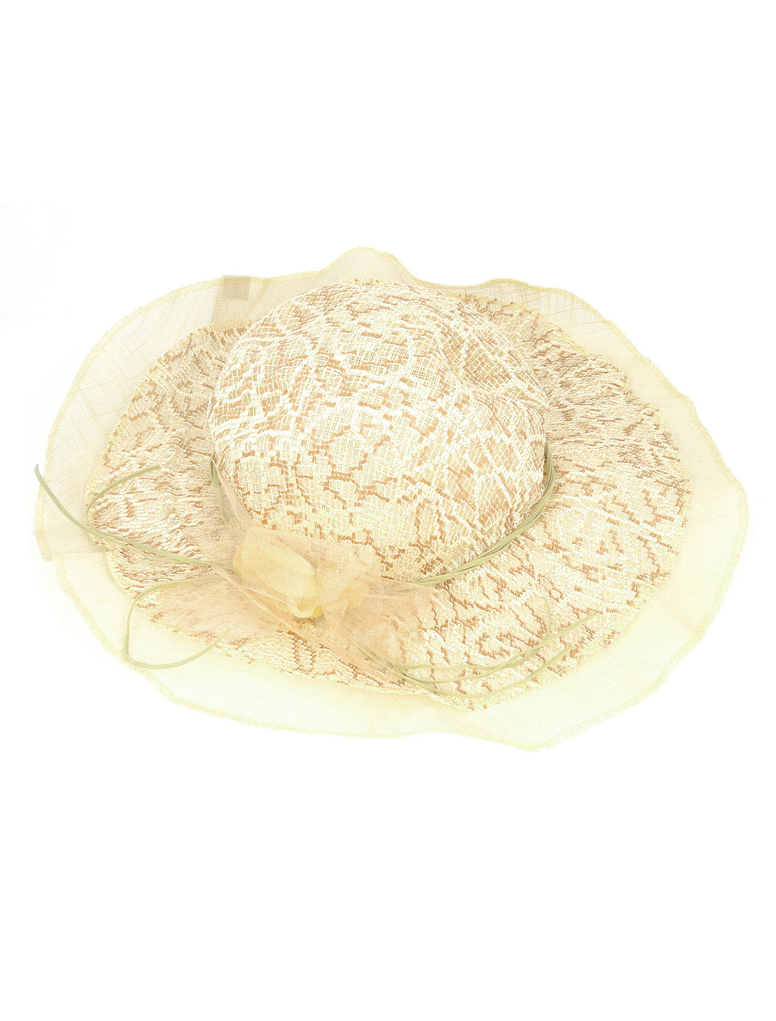Ivory Brown Organza Band Flower Decor Sun Hat Leisure Cap for Ladies