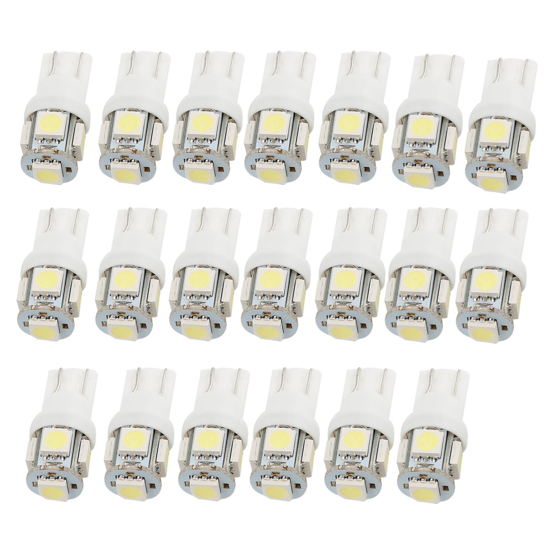 20 Pcs Car T10 White 5050 5 SMD LED Braking Turning Light Wedge Lamps internal