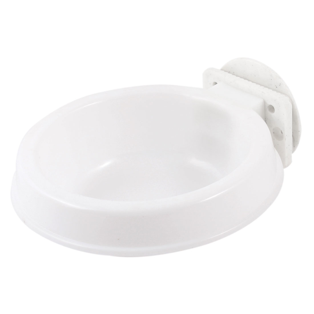 10.5cm Dia 4cm Depth Puppy Dog Cat Pet Outdoor Cage Fixed Plastic Feed Bowl Round Shape Dinner Food Water Feeder White