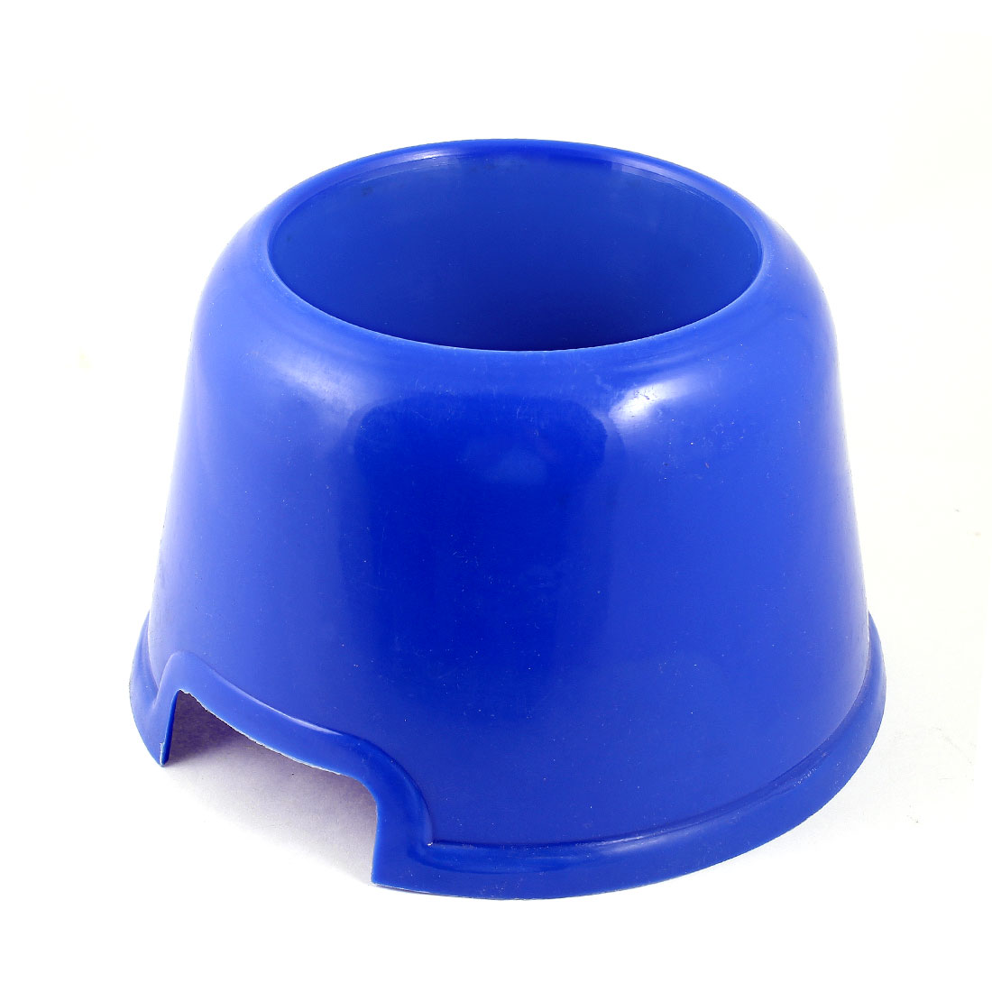 11.5cm Dia 7cm Depth Puppy Dog Cat Pet Plastic Feed Bowl Round Shape Dinner Food Water Feeder Tool Dark Blue