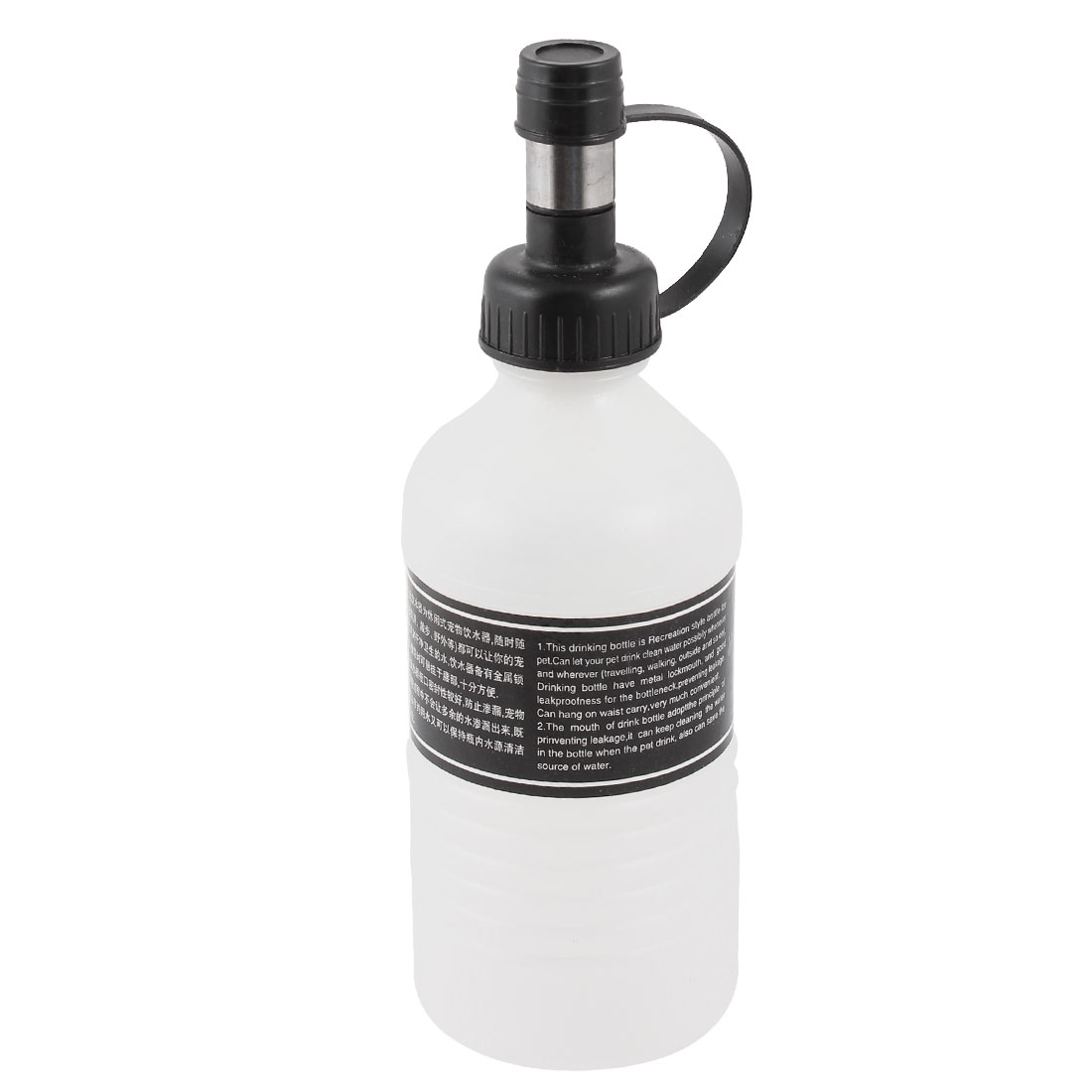 Traveling Portable Plastic Water Fountain Drinking Feed Bottle White Black 300ml for Pet Cat Dog Rabbit