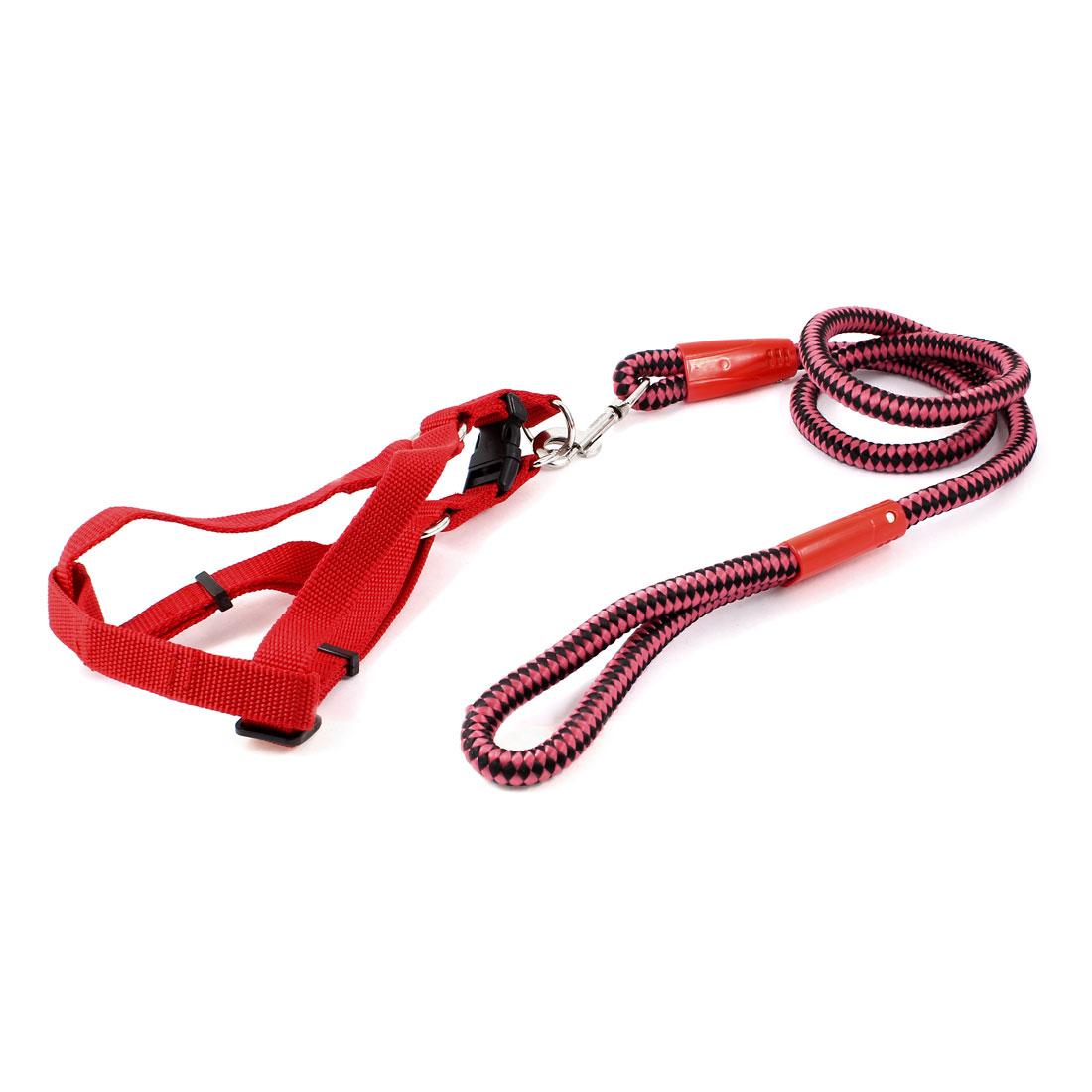 Trigger Hook Nylon Rope Lead Pet Dog Yorkie Adjustable Harness Leash Black Red