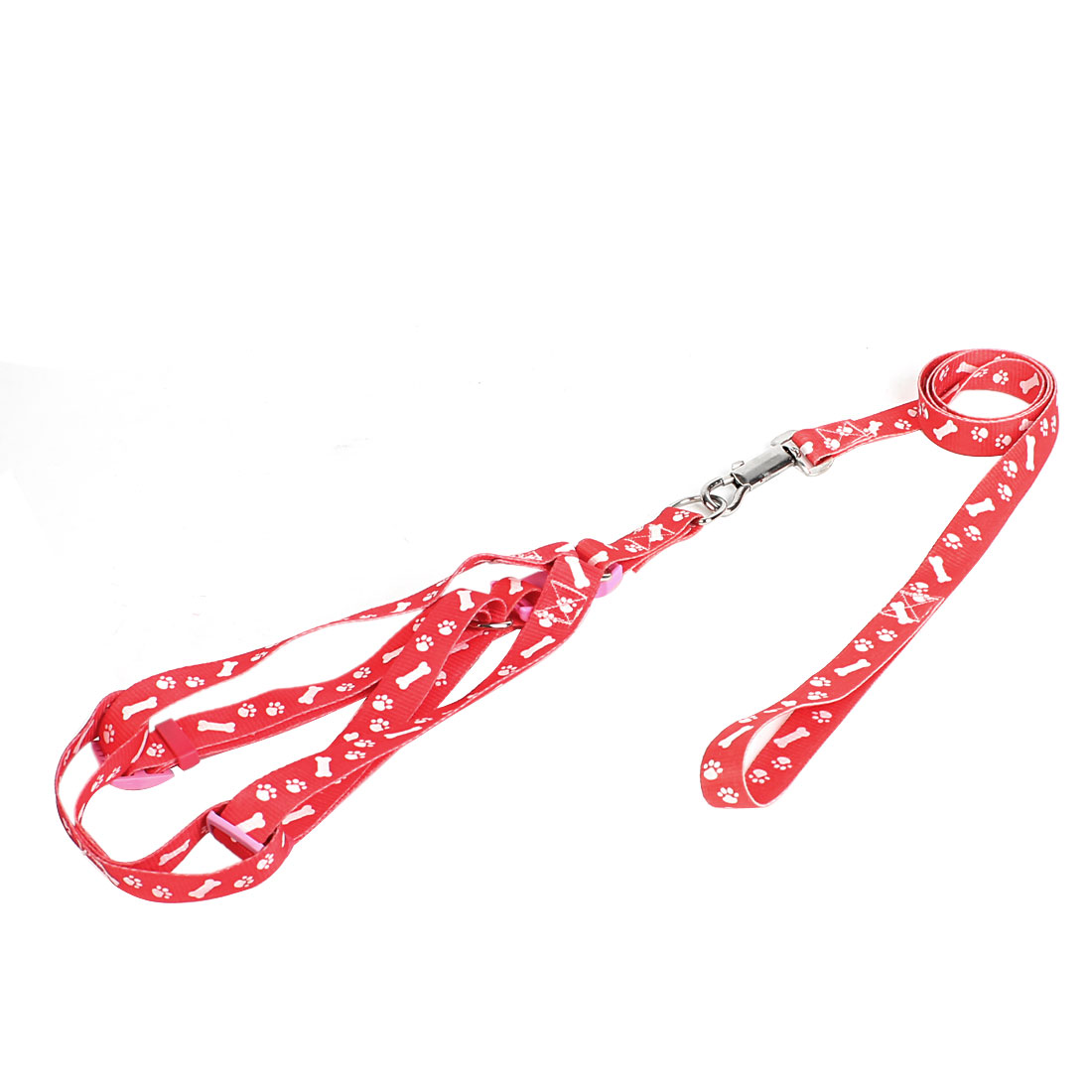 Trigger Hook Release Buckle White Bone Paw Pattern Pet Dog Yorkie Harness Halter Leash Red