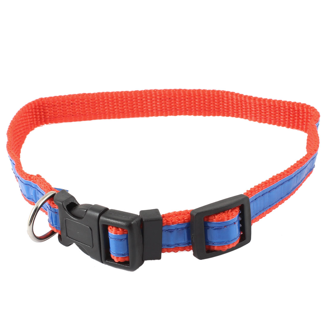 Release Buckle Night Safety Tracking Reflective Nylon Adjustable Belt Collar Blue Red for Pet Cat Dog Doggy