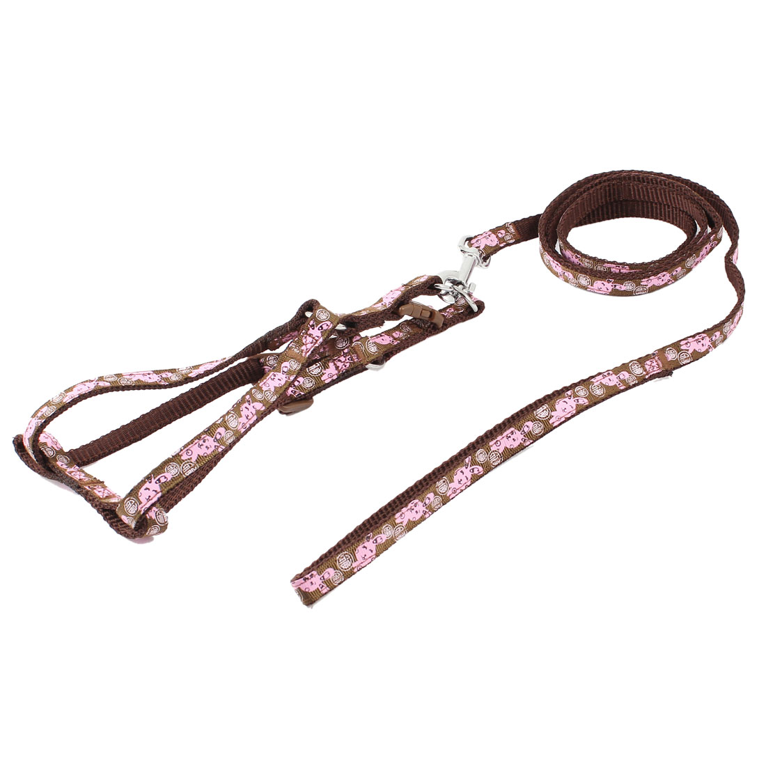 Trigger Hook Pink Rabbit Pattern Nylon Rope Lead Pet Dog Yorkie Harness Halter Leash Chocolate Color