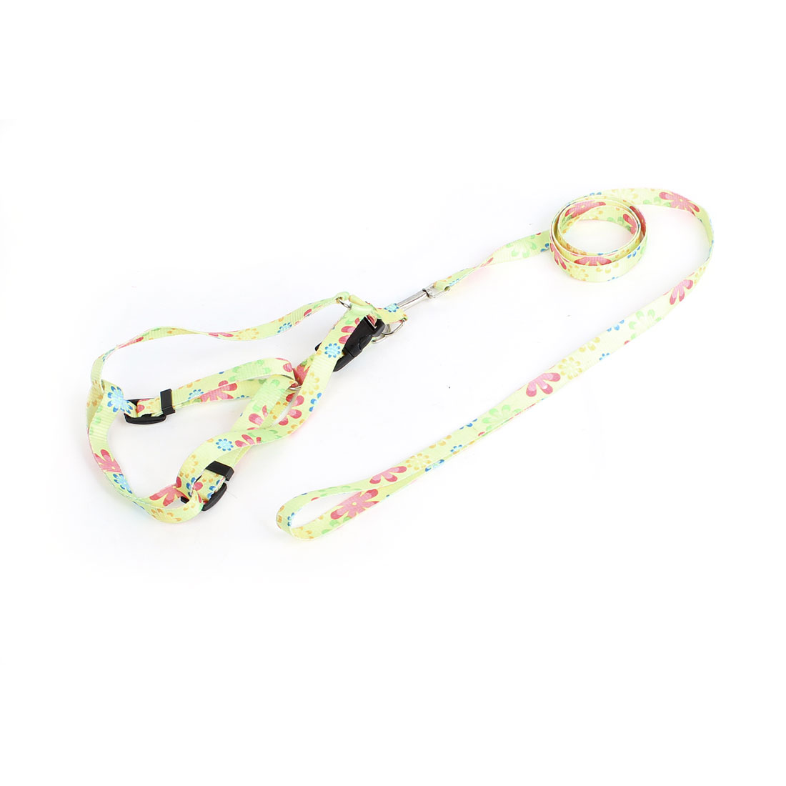 Trigger Hook Release Buckle Flower Pattern Pet Dog Pug Yorkie Harness Halter Leash Assorted Color