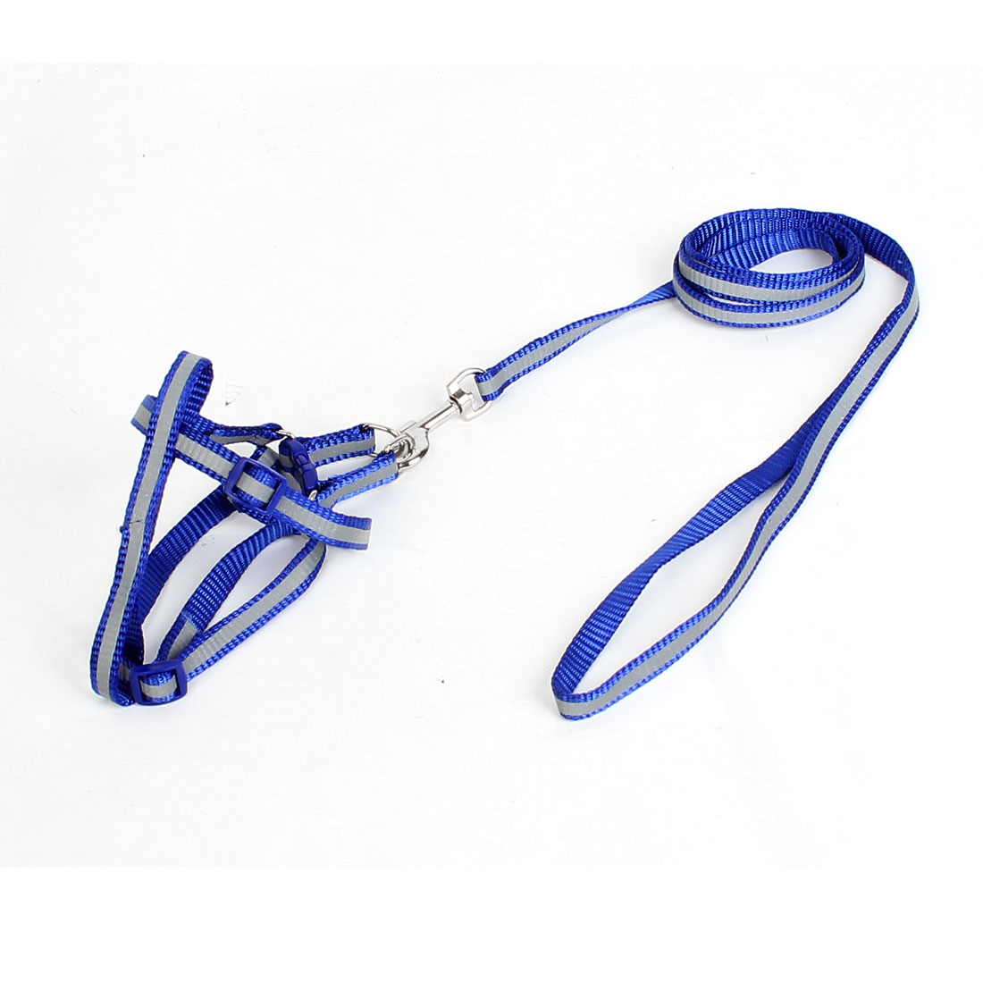 Trigger Hook Release Buckle Night Safety Reflective Pet Dog Yorkie Harness Halter Leash Blue
