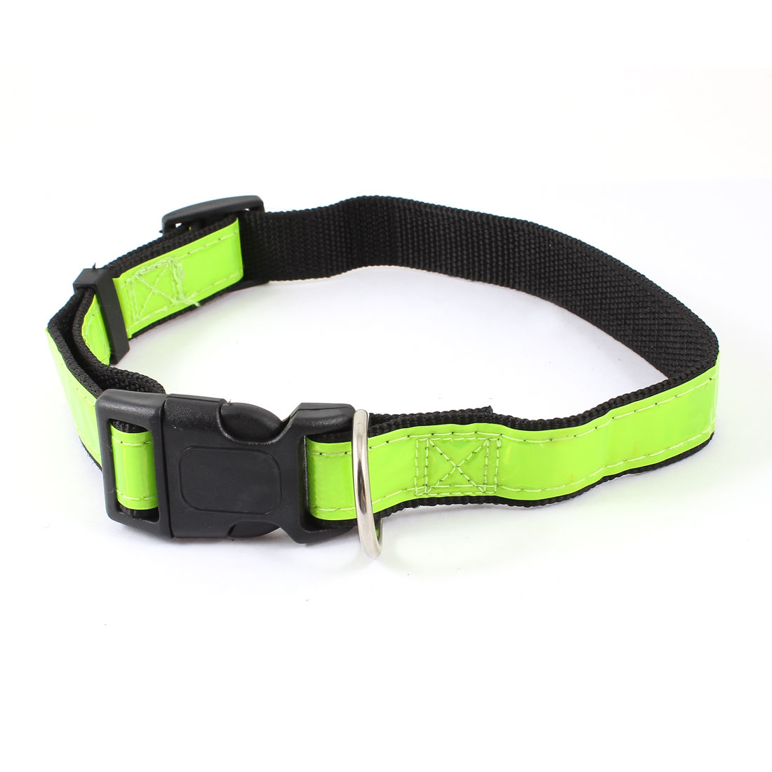 Release Buckle Night Safety Tracking Reflective Nylon Adjustable Belt Collar Yellow Green Black for Pet Cat Dog Doggy