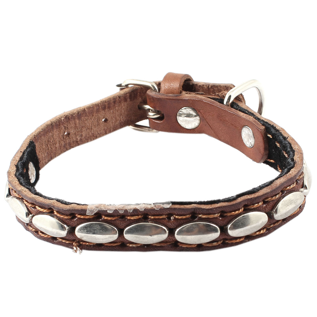 Single Prong Buckle Metal Silver Tone Rivet Detail Faux Leather Adjustable Belt Collar Coffee Color for Pet Cat Dog Doggy