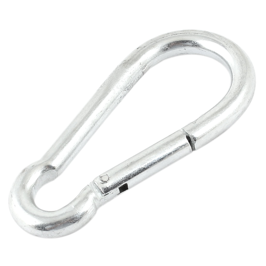 Camping Travel Hiking Silver Tone Metallic Snap Spring Carabiner Clip Hook 9mm x 90mm