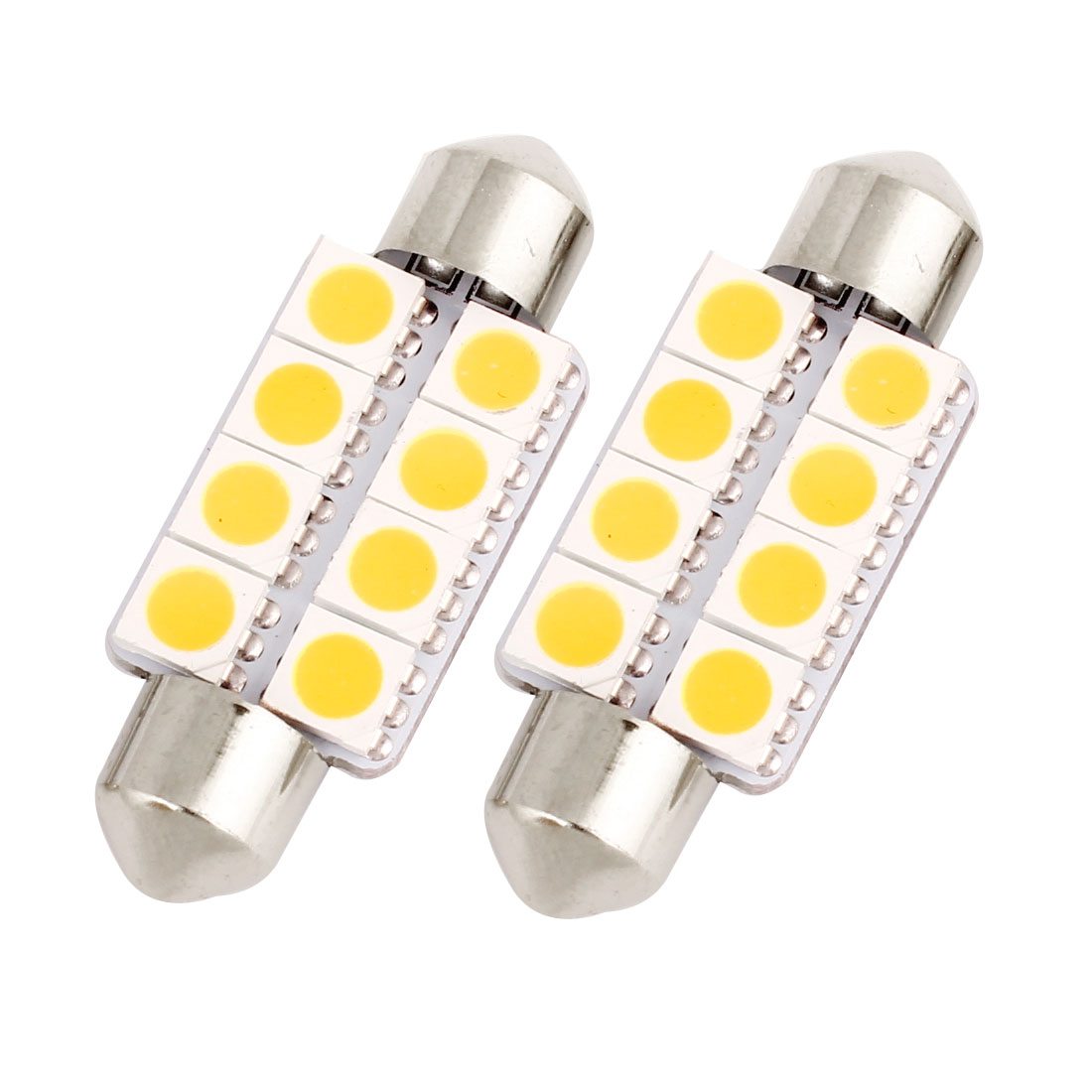 "2 Pcs 39mm 1.54"" 5050 SMD 8-LED Warm White Festoon Dome Light Bulb DE3425 DE3423 Internal"