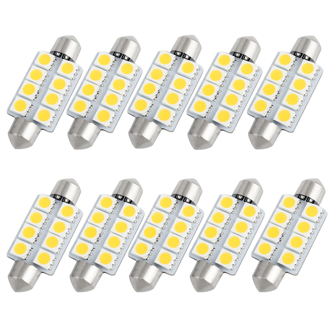 10pcs 41mm 5050 SMD 8-LED Festoon Dome Light Warm White 6413 211-2 212-2 560 Internal